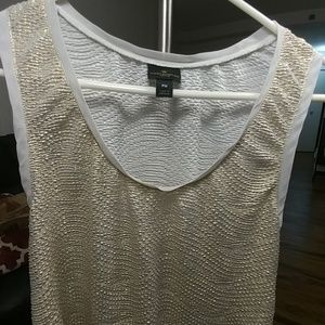 Worthington Tops - Petite Medium Shimmery gold and white tank top